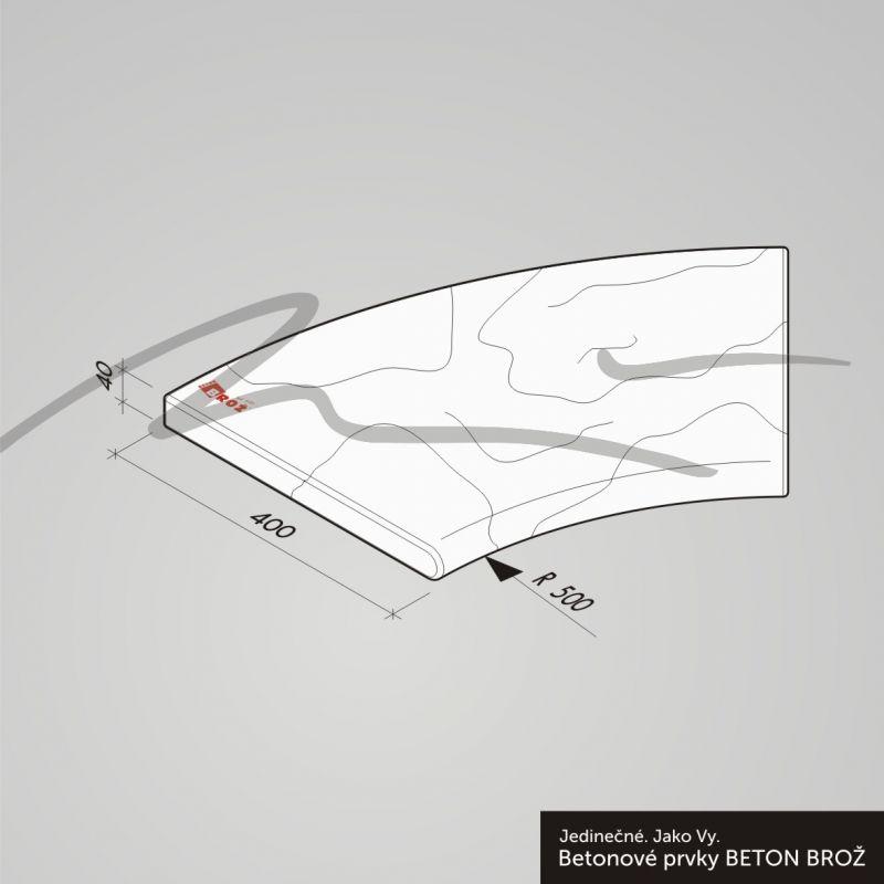 TVÁŘ KAMENE Gabro Bazénový lem - Bazénový lem - Tvář kamene® Gabro rohový vnitřní 1m segment 45° pískovec DITON
