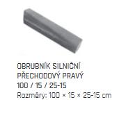 DITON Silniční obrubník PŘECHODOVÝ 100 x 15 x 15-25 cm